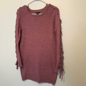 Like New Lace Up Detail Tunic Sweater
